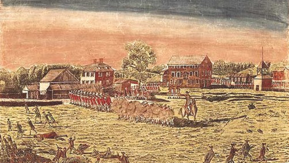 British soldiers firing on armed colonists on Lexington Green at the start of the American Revolution