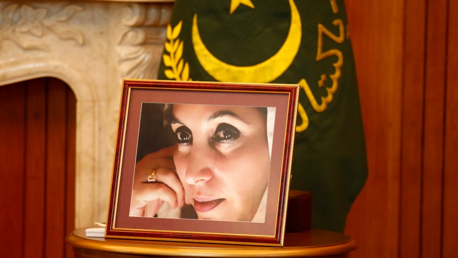A portrait of assassinated Pakistani Prime Minister Benazir Bhutto is displayed atop a table in Islamabad.