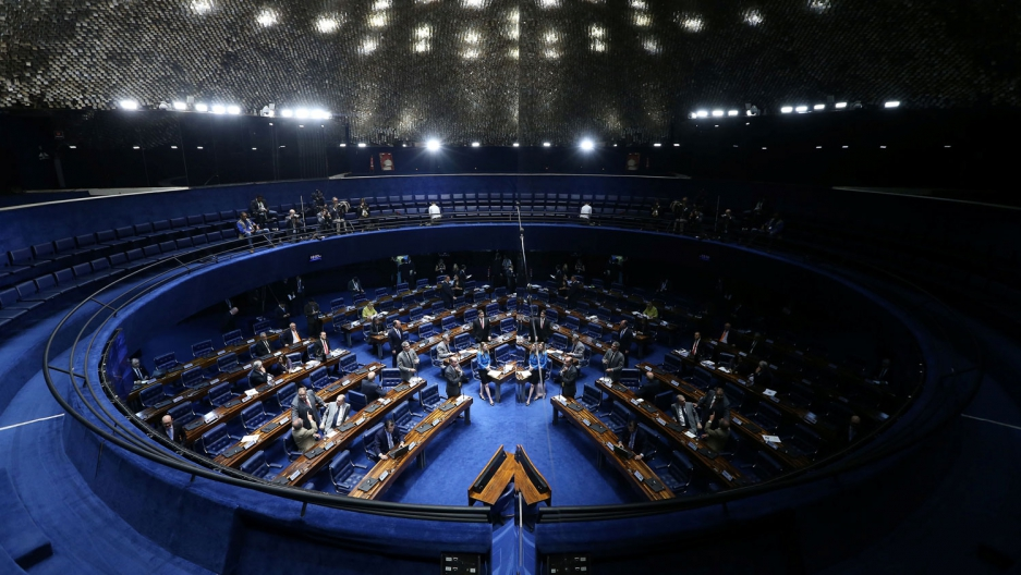 Senators vote on the the spending freeze in Brazil.