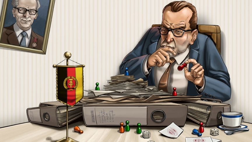 A cover illustration for the Communist-era board game Burokratopoly, which is being re-launched by Berlin's DDR Museum.