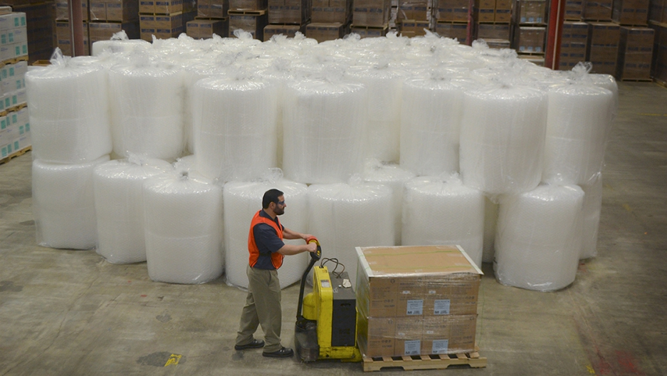 The Sealed Air Corporation was looking ways to reduce its greenhouse gasses — it started shipping bubble wrap that wasn't' yet inflated. Now one truck can deliver what up to 36 trucks used to haul.