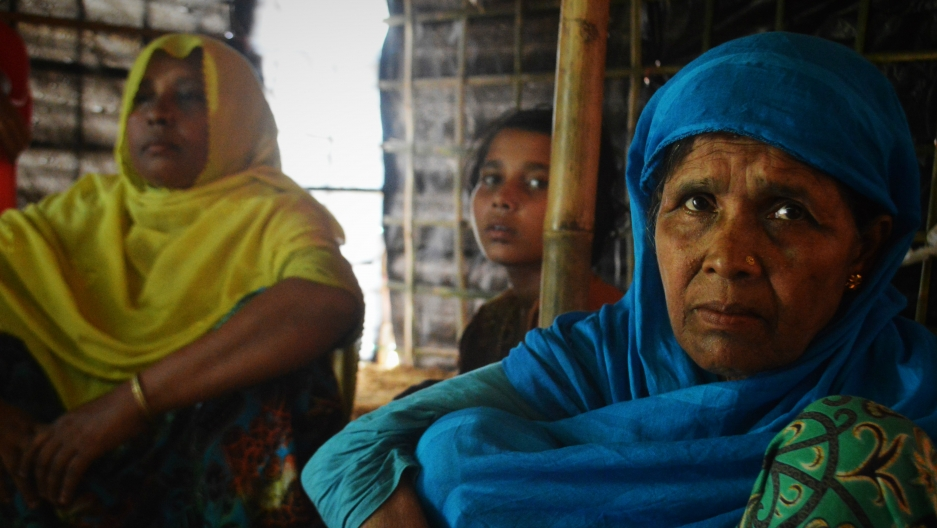 Busara Khatun, right, is a Rohingya refugee living in a camp in Bangladesh. Her son was killed in an elephant attack.