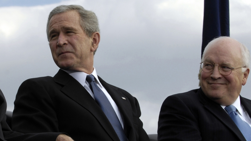 Dick Cheney lost influence as the Bush administration moved into its second term. Here are the two men at a Pentagon ceremony in December 2006.
