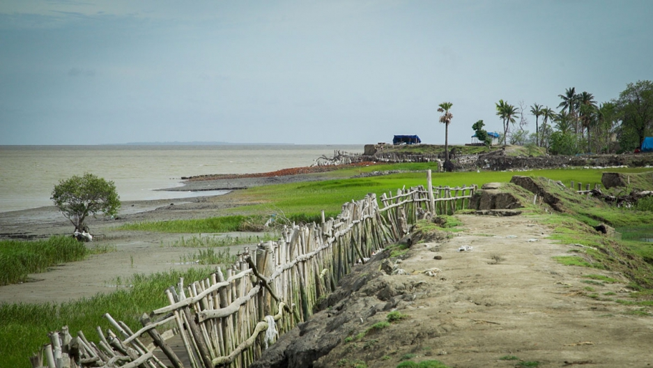 At the tip of Sagar Island where it meets the Bay of Bengal battered earthen dikes no longer keep the sea at bay.