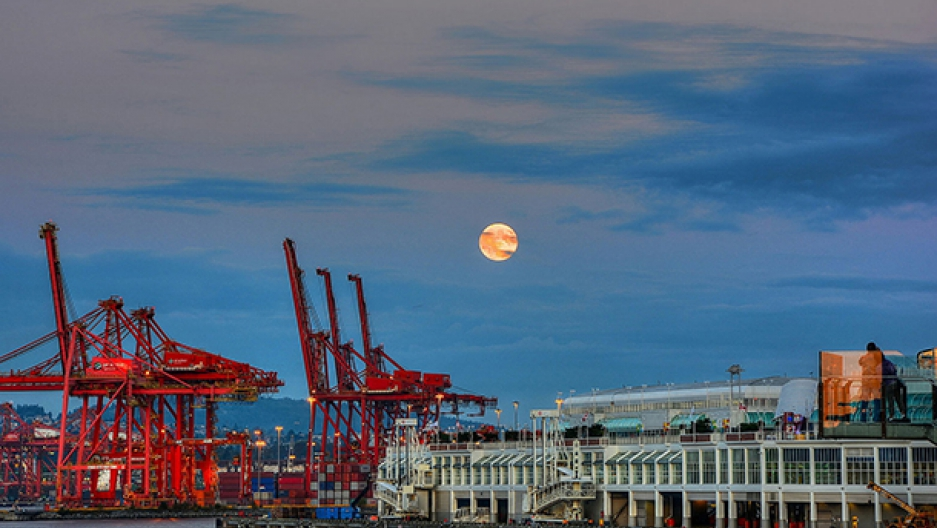 Harvest moon over Coal Harbor