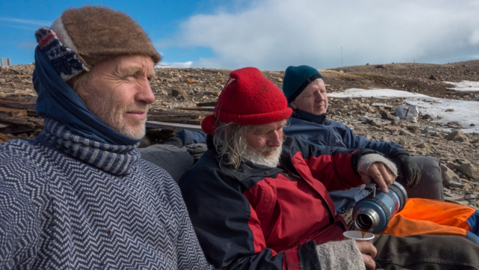 "Jan Wanggaard (l), Bjørn Myrann (c), and Stig Pettersen (r), from the ""Maud Return Home."""