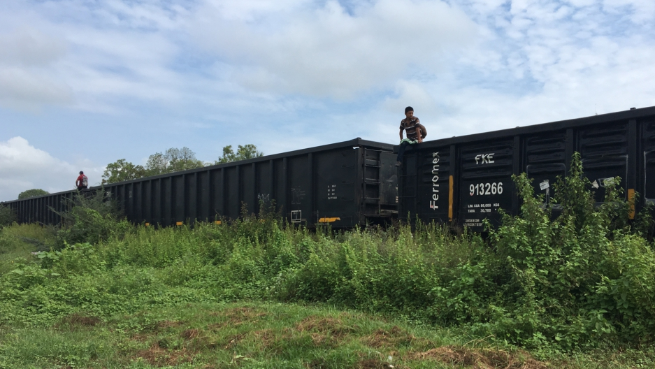 A train in a green field with someone standing on the top of a car