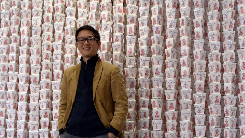 Peter Kim at the Museum of Food and Drink's new exhibit on the making of the Chinese-American restaurant.