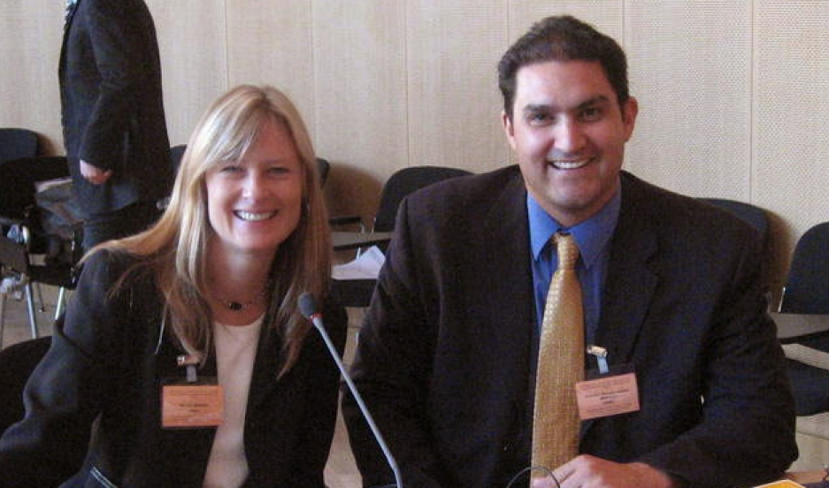 Pamela Brown and Mariano Nuñez at a Hague conference on private international law. They've been working on cross-border child abduction cases together for 15 years.