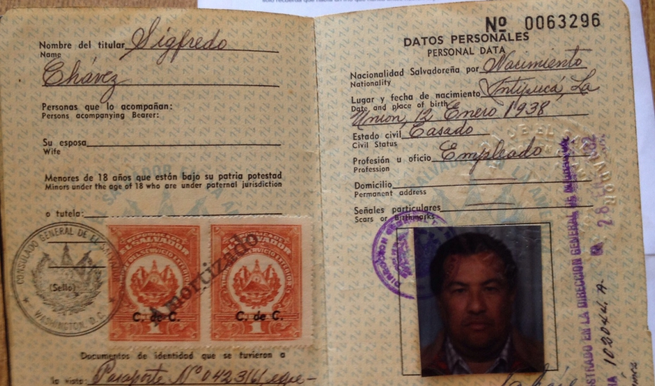 A passport that belonged to Sigfredo Chávez. Intipucá celebrates him as its first migrant to take off for the US.
