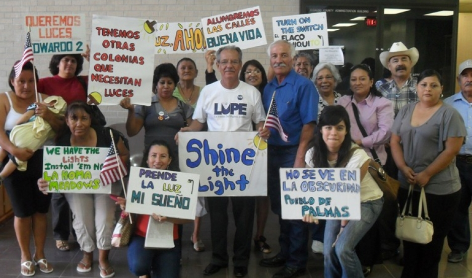Members of a Right to Light campaign in Hidalgo County, Texas, where many of the colonias along the border lack street lights.