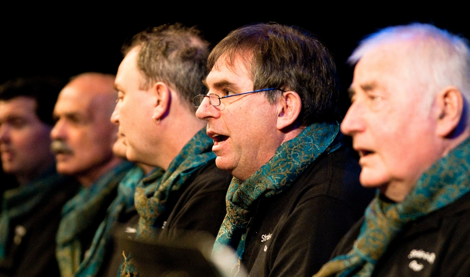 Tim Adams (center, in glasses) suffered a stroke several years ago that affected his ability to speak. But he's been singing with the Stroke a Chord choir outside of Melbourne, Australia.