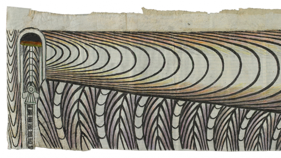 An untitled piece by Martin Ramírez, (Train and Tunnel). Ramírez used crayons and glued together pieces of paper to make his drawings.