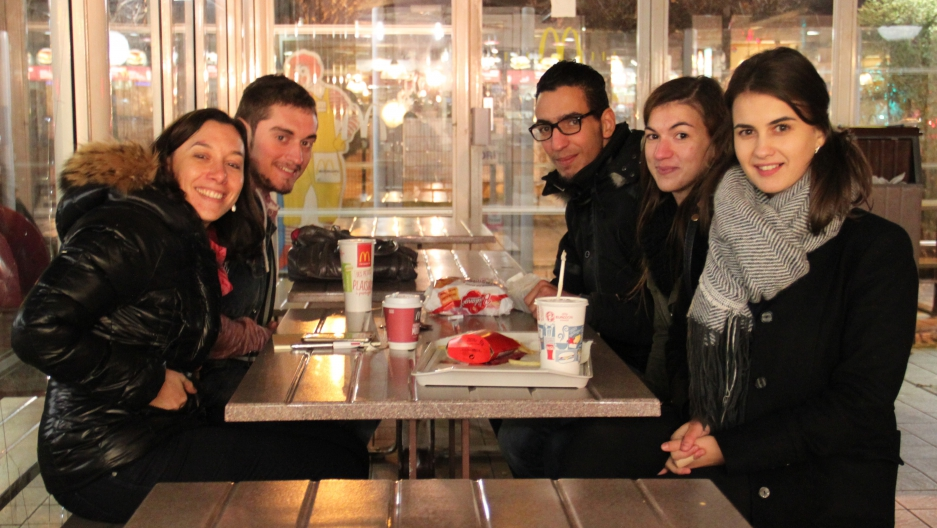 McDonalds is one of the few places open on a Sunday night in the Paris suburb of Épinay-sur-Seine. (Clockwise from left: Angeline Rochery and former students, Steven dos Santos, Samir Saïfi, Laeticia Rodrigues, Cristina Riscou)