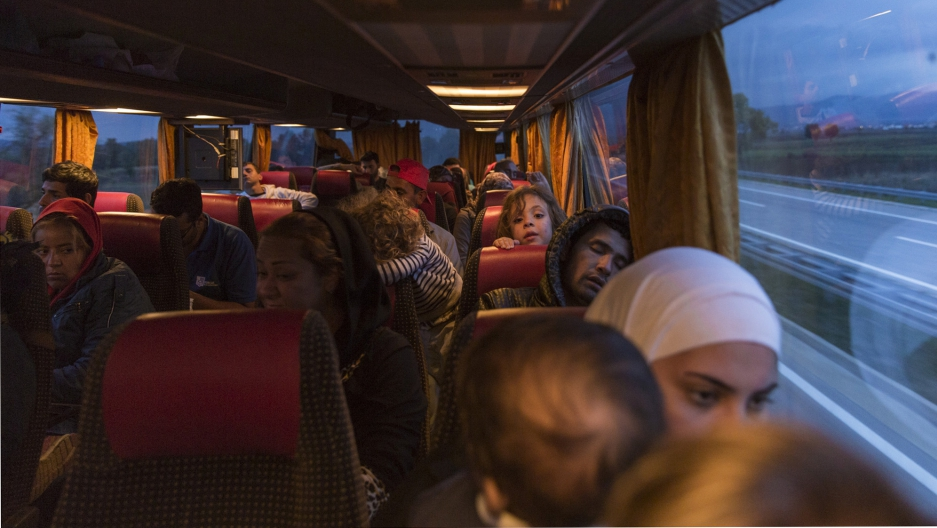 Refugees on a private bus in Serbia en route to the border with Croatia.
