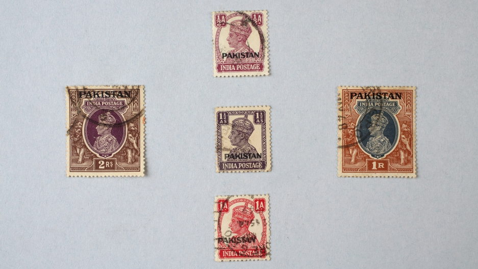 The newly created country of Pakistan continued to use stamps printed by the British, but stamped them with the name Pakistan, until new stamps could be printed.