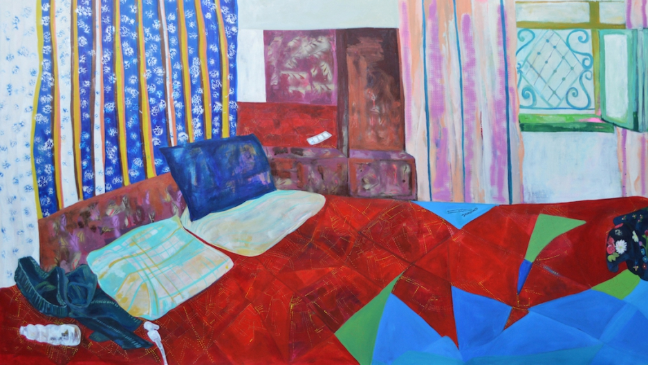 """Rana Samara says she became interested in painting intimate scenes, post-sex, after visiting a friend in a Palestinian refugee camp where there's little privacy. """"I started questioning like, how did people make sex? How did they sleep together?"""""""