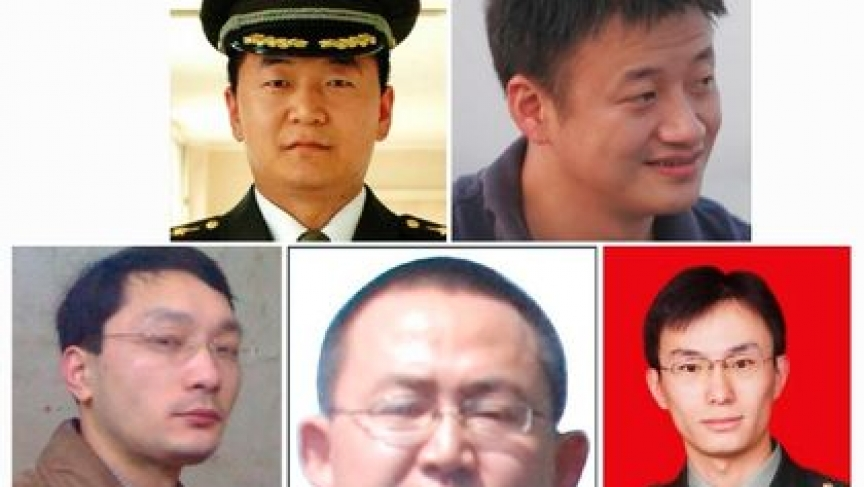 A combination photo shows the five Chinese military officers who the U.S. has accused of cyber espionage. Top row: Sun Kailiang (L), Huang Zhenyu (R), bottom row L-R: Wen Xinyu, Wang Dong and Gu Chunhui in FBI released photos.