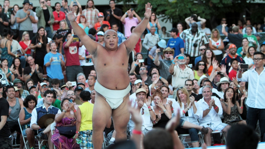 Byambajav Ulambayar, a four-time World Sumo champion, celebrates a win at last year's US Sumo Open.