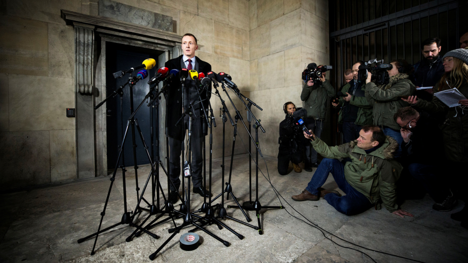 Copenhagen Police's Special prosecutor Jakob Buch-Jepsen is seen during a news conference in front of the Copenhagen Police Headquarters after the prosecutor's office announced the charge in the submarine murder case against Peter Madsen, in Copenhagen