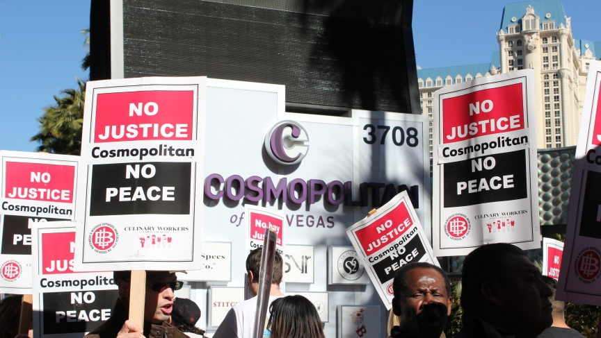 Las Vegas workers picketing The Cosmopolitan hotel in Las Vegas, Jan. 31, 2014. Thousands, from The Cosmo and other union hotels, have regularly been picketing demanding better compensation and benefits.