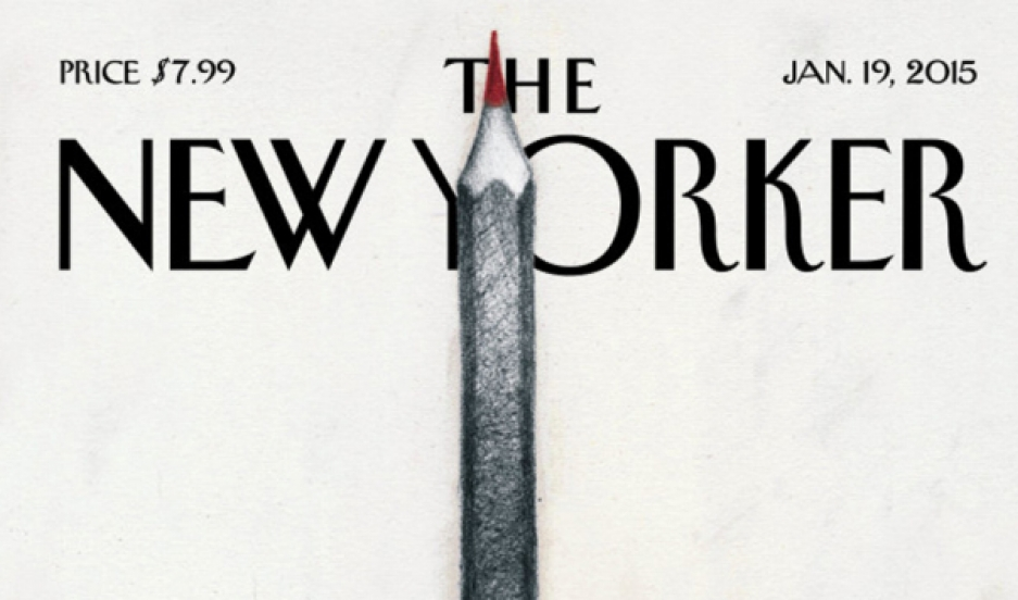 "A portion of ""Solidarité,"" the New Yorker cover image by Ana Juan in tribute to the Charlie Hebdo victims."