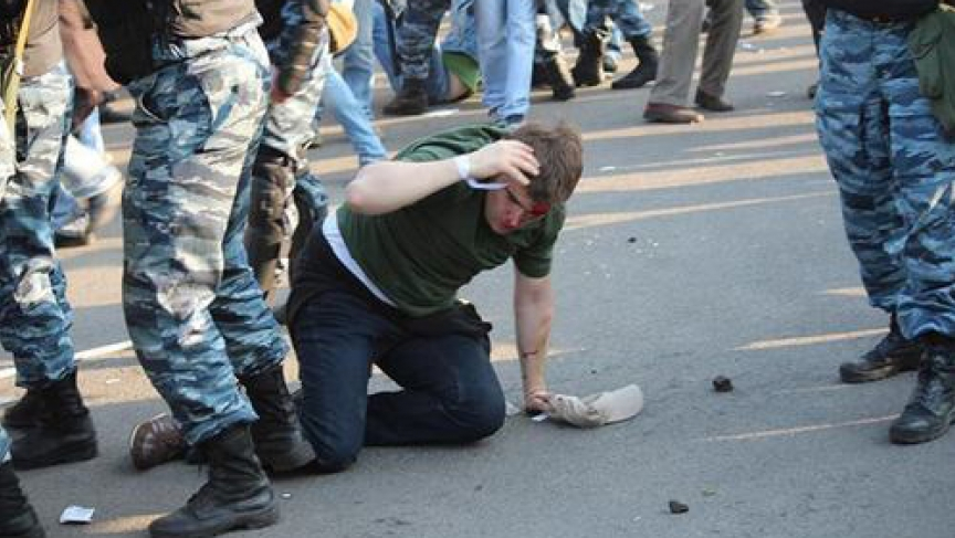 "Alexei Gaskarov took part in an anti-Putin protest on May 6, 2012. An amateur video showed a police officer kicking Gaskarov in the head. But Gaskarov was arrested and sentenced to 3-1/2 years in prison for ""inciting mass disorder."""