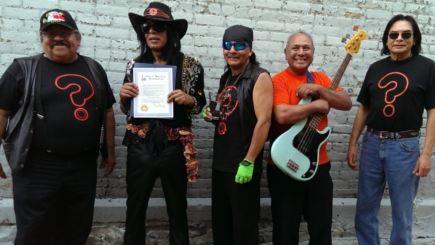 The surviving members of ? and the Mysterians, the day their 1966 hit '96 Tears' was proclaimed the official rock and roll song of Bay City, Michigan.   (From left to right, Frank Rodriguez, Question Mark, Robert Martinez, Frank Lugo, and Robert Lee Balde