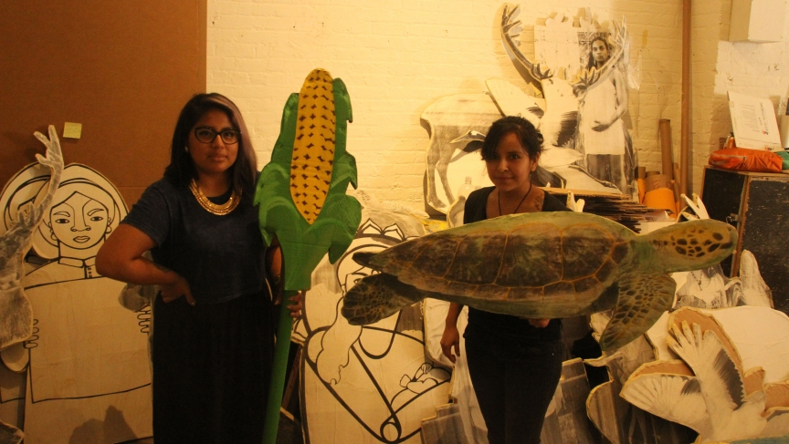 Sonia Guinansaca and Susana Garcia of the activist group CultureStrike will be carrying these images of crops and animals threatened by climate change in Sunday's People's Climate March in New York City.