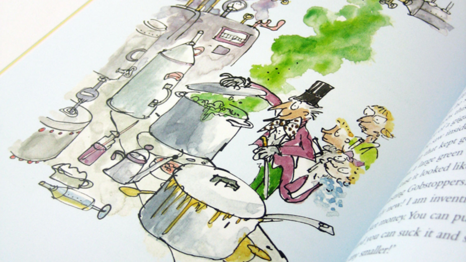 'Charlie and the Chocolate Factory' by Roald Dahl, featuring illustrations from Quentin Blake