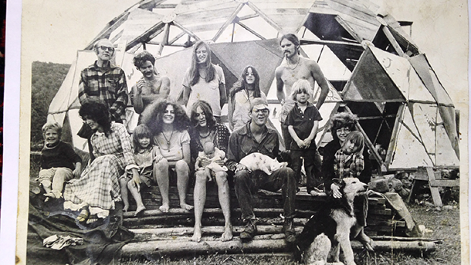 Members and friends of the Myrtle Hill commune, in norther Vermont, gather in front of a geodesic dome in the summer of 1971.
