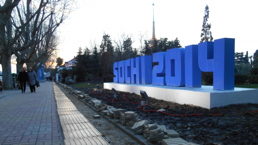 Sochi has been struggling to make its public spaces handicapped accessible, including sidewalk markings for the visually impaired. Two weeks before the Olympics, there was still work to be done.