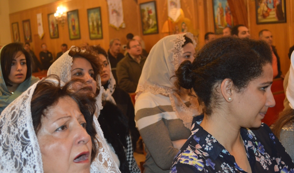 During Sunday worship at St. Antonius Coptic Church in Hayward, California, women sit on one side of the church, and men on the other.