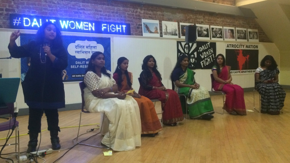 Members of the All Dalit Women's Rights Forum speak at the Women's Building in San Francisco. (Sonia Paul)