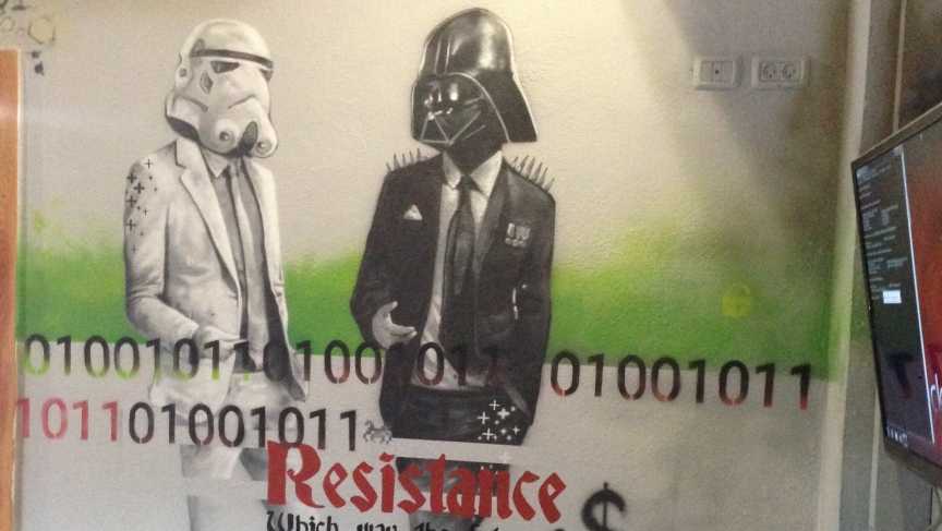 Darth Vader and his storm troopers terrorize the galaxy as hackers.