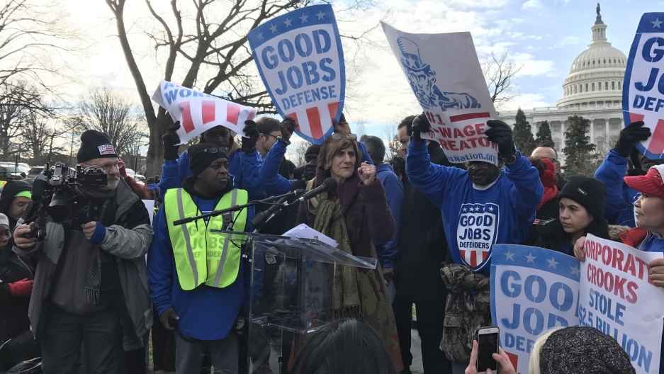 Democratic Congresswoman Rosa DeLauro at a rally in February 2017. DeLauro has become one of the most outspoken critics of NAFTA in Congress.