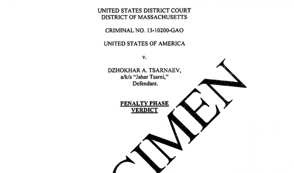 Dzhokhar Tsarnaev penalty phase verdict