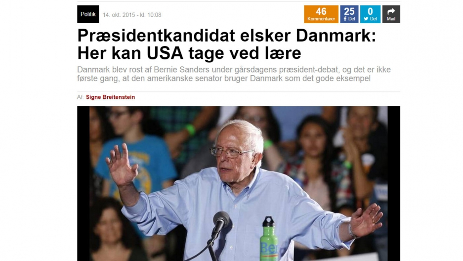 """Danish newspaper headline: """"Presidential candidate loves Denmark: In the US, Denmark was praised by Bernie Sanders during yesterday's presidential debate, and it is not the first time that US Senator has cited Denmark as a good example"""""""
