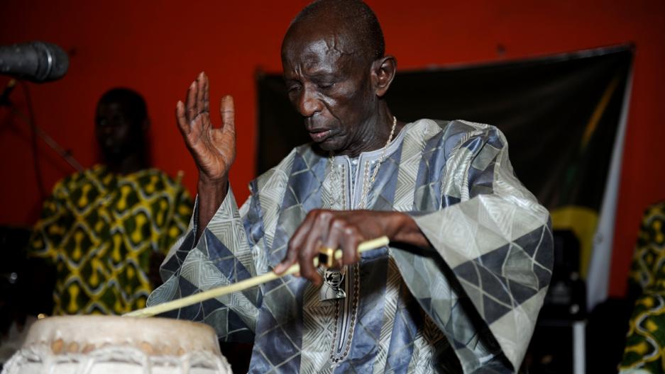 Doudou Ndiaye Rose performs in Dakar, 2013.
