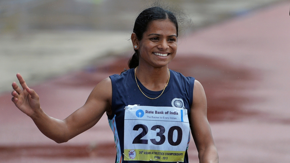 Dutee Chand after winning the bronze medal in the women's 200 meters at the 2013 Asian Athletics Championship 2013.