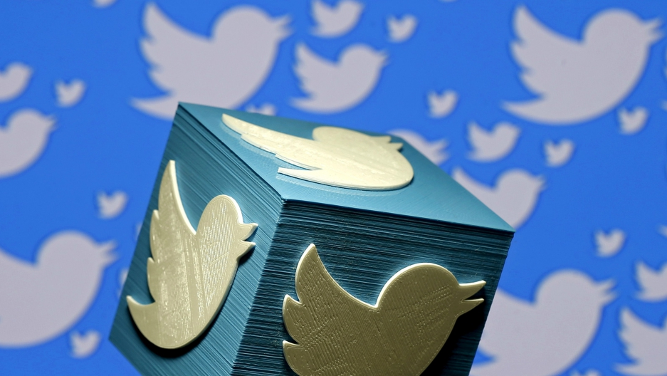 A 3D-printed logo for Twitter is seen in this picture illustration.