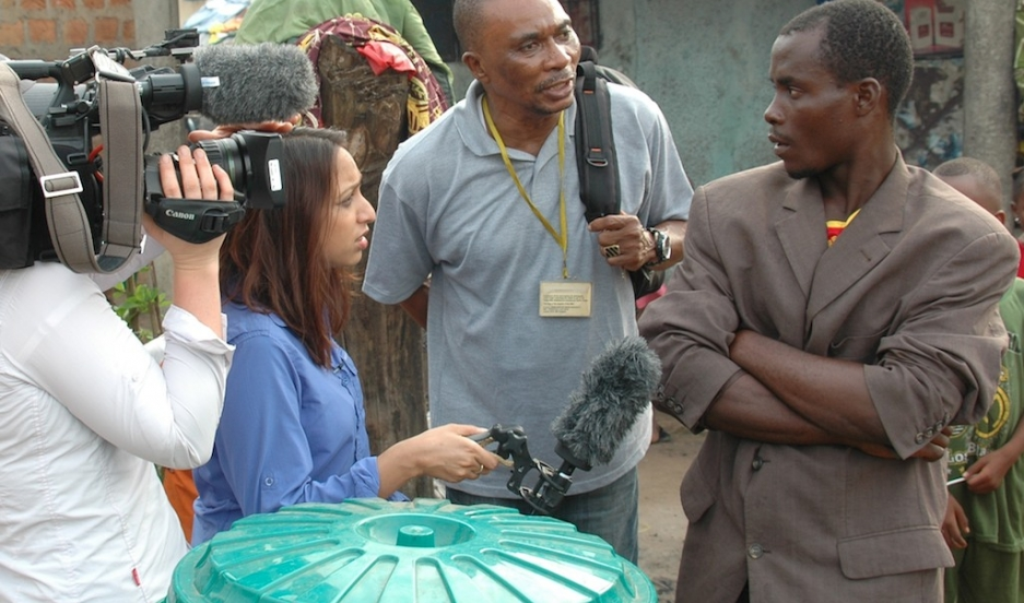 "Interviewing people in Guinea in December  ""They were telling me they didn't believe Ebola was a real virus. ""BBC correspondent Tulip Mazumdar conducts an interview in Guinea in December 2014. ""They were telling me they didn't believe Ebola was a real vir"
