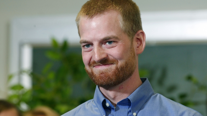 Kent Brantly, who contracted the deadly Ebola virus, smiles during a press conference at Emory University Hospital in Atlanta, Georgia. Brantly along with a second American aid worker who contracted Ebola while treating victims of the deadly virus in Libe