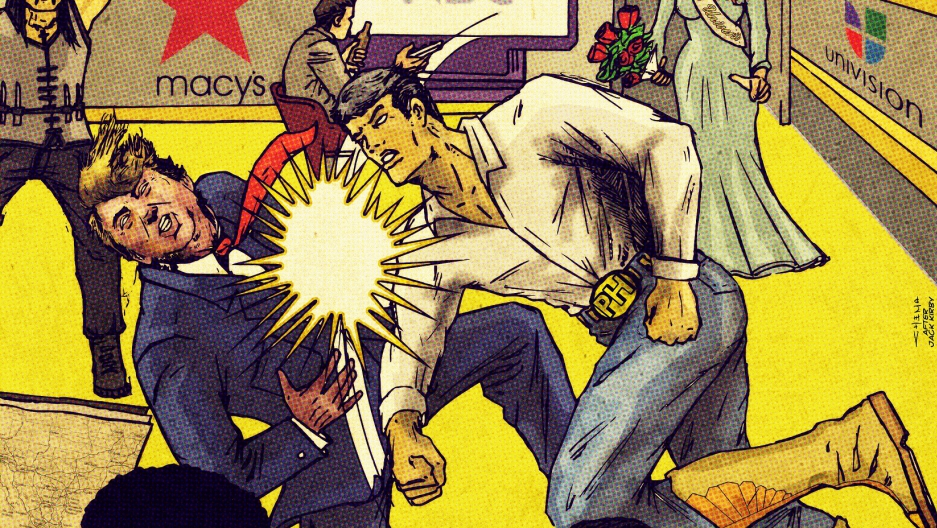 El Peso Hero punches out Donald Trump