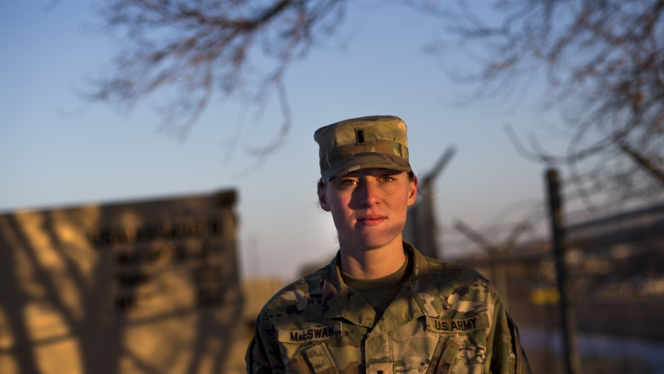 First Lieutenant Erica MacSwan is an intelligence officer with the US army. Here, she has days to go before she is deployed to Afghanistan for about a year.