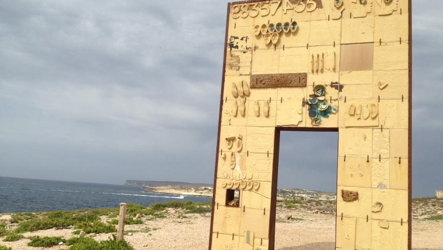 """""""The Door of Lampedusa, Door of Europe"""" underscores the situation of refugees who arrive on Lampedusa as the entry point to the rest of Europe."""