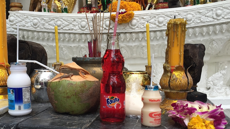 Thai spirit house strawberry fanta