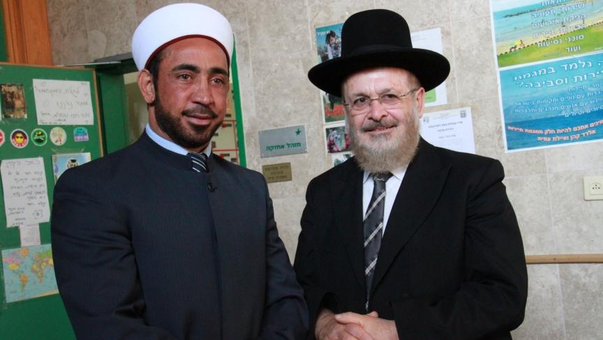 A sheikh and a rabbi walk into a middle school... Sheikh Samir Asi and Rabbi Yosef Yashar after their talk at a Jewish middle school in Akko, in northern Israel.
