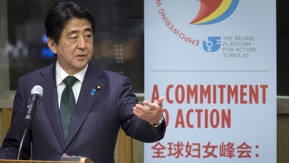 Prime Minister of Japan Shinzo Abe speaks during the Global Leaders' Meeting on Gender Equality and Women's Empowerment at UN headquarters this September.