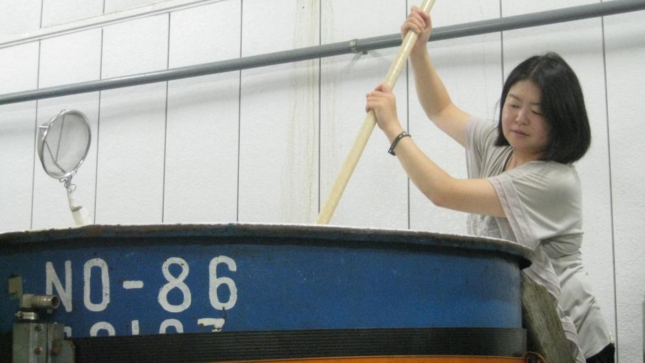 Master brewer - or toji - Emi Machida at the 130-year-old Machida Brewery in Gunma, Japan. Under her direction, her family's premium sake has won gold seven times at the Annual Japan Sake Awards.